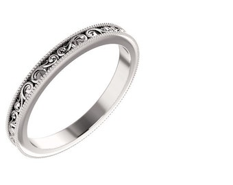 Sculptural Style Eternity Band, Floral Band with Millgrain Engraved Wedding band in 14kWhite  Gold ST62692