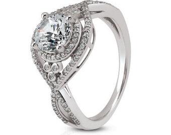 1.00 carat 6.5mm Round Forever One (GHI) Moissanite Twist Shank Double Diamond Engagement Ring ENR0272-1077