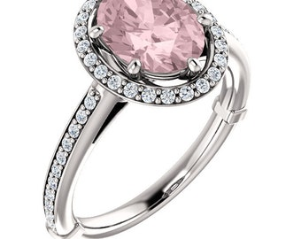 Natural AAA 10x8mm Oval  Morganite  Solid 14K White Gold Diamond halo Engagement Ring Set-ST233280