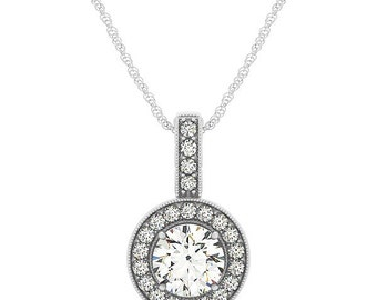 1 ct 6.5mm Forever One (GHI) Moissanite  Solid 14k white gold Antique Halo Style diamond Pendant w / Cable chain - Ov43447