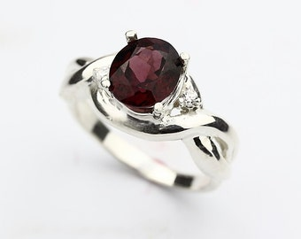 Natural purplish red Rhodolite Garnet Solid 14K White Gold Diamond Ring
