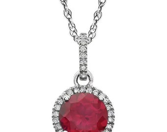 "14k White Gold Natural Diamond &Created  Sapphire / Ruby/ Emerald /Opal Halo style Pendant Necklace, 18"" Rope Chain"