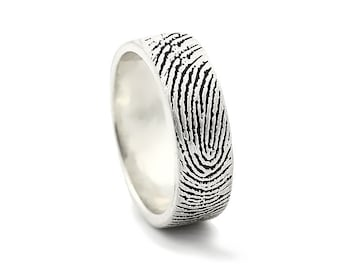 Two Fingerprints Ring - Sterling Silver Engraving Wedding Band- satin, antique blackened,6mm