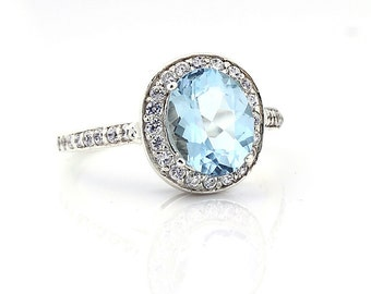 Natural Stunning AAA  Aquamarine Solid 14K White Gold Diamond Halo Ring - Gem752