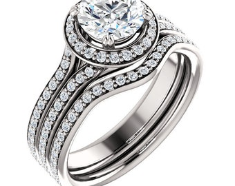 1ct Forever One (GHI) Moissanite Solid 14K White Gold  Halo  Engagement  Ring Set - ST233493