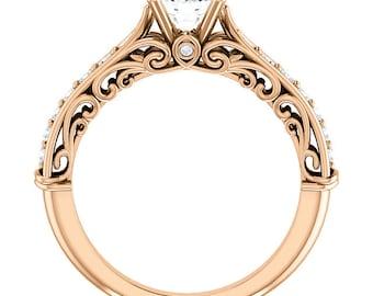 1 ct Forever One (GHI) Moissanite Solid 14K Rose  Gold Diamond Engagement Ring - ST233176R