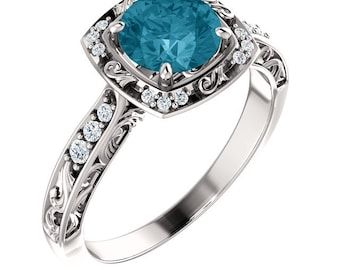 6.5mm round  London blue topaz Solid 14K White Gold Diamond Sculptural-Inspired Engagement Ring - ST232092-1064