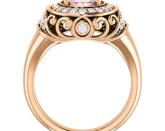 Natural AAA 9x7mm Oval  Morganite  Solid 14K Rose Gold Diamond halo Engagement Ring -ST233162