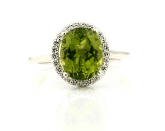 Natural Green Peridot  Solid 14K White Gold Diamond engagement  Halo Ring - Gem849