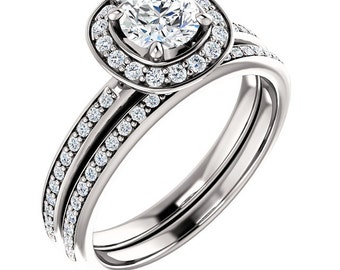 1/2 CT 5mm  Forever One (GHI) Moissanite Solid 14K White Gold  Halo  Engagement  Ring Set - ST233197