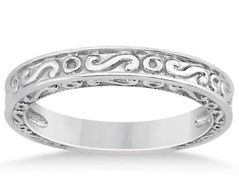 Sculptural Infinity Design Filigree Wedding Band in 14k White Gold ****Special for you*****-ENS4673