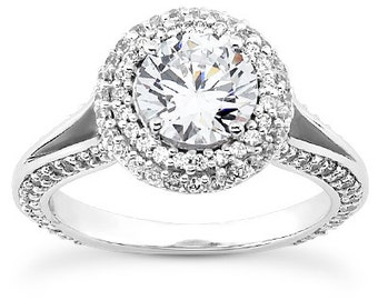 1.00 carat 6.5mm Round Forever One (GHI) Moissanite  Double Halo Diamond Engagement Ring  ENR0147