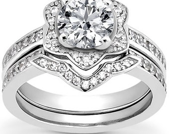 1 carat 6.5mm Round Forever Brilliant  Moissanite Flower Halo  Bridal Set Diamond Engagement Ring Set  ENS4292