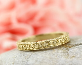 Carved Floral Designed Wedding Band  14k Yellow Gold ENS4651