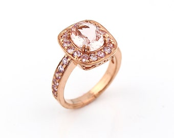 Natural  Morganite Solid 14K Rose Gold pink sapphire engagement Ring----Special