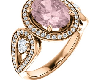 Natural AAA 10x8mm Oval  Morganite  Solid 14K Rose Gold Diamond halo Engagement Ring Set ST82846
