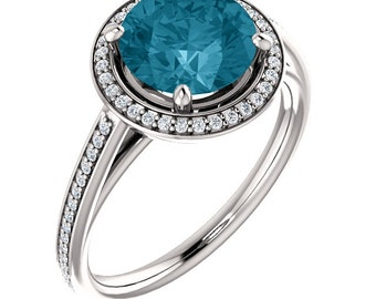 Natural AAA 8mm Round London blue Topaz  Solid 14K white Gold Diamond Engagement Ring Set-ST82790