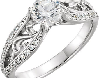 1.00 ct   6.50mm Forever One (GHI) Moissanite 14K White Gold Antique Style  Engagement Ring ST233143