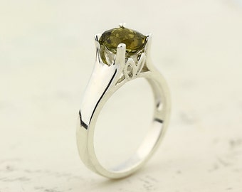 Flawless Natural Yellow Tourmaline Solid 14K White Gold solitaiire Ring