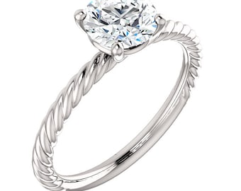 Certified Forever One Moissanite Engagement Ring ,Round Brilliant Cut Diamond Simulant Wedding Ring In Solid 14K White Gold ST82737 Gem1098