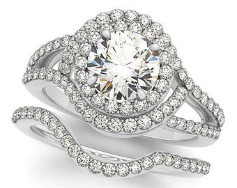 1 CT 6.5mm Round Center Forever One (GHI) Moissanite Solid 14K White Gold  Double Halo  Engagement  Ring Set - OV61901