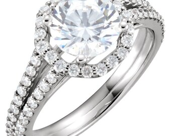 Forever One (GHI) Moissanite Diamond Halo Engagement  Ring In 14K White Gold  -ST232992