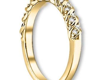 14K White / Yellow / Rose  Gold  Natural Round Diamond Twisted Wedding Band  Anniversary Ring ENS4296