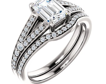 7x5mm Emerald Cut /Octagon Forever One (GHI) Moissanite Solid 14K White Gold  Diamond Engagement  Ring Set - ST82856
