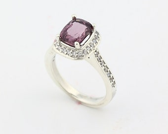 Natural  2.01ct 7.5x6mm Cushion Top Stunning  Titanium Pink Spinel Solid 14K White Gold Diamond Ring