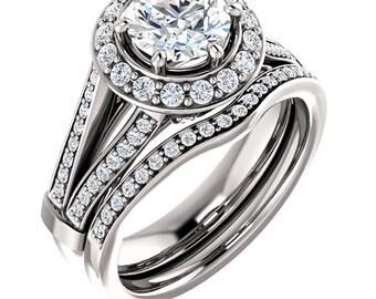 1ct Forever One (GHI) Moissanite Solid 14K White Gold  Halo  Engagement  Ring Set - ST233422 &233423