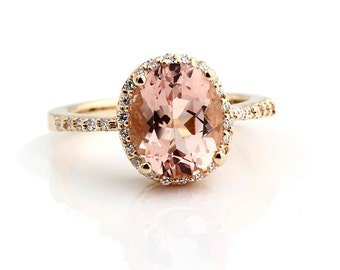 Natural Fancy Color  AAA Facet Cut Morganite  Solid 14K Yellow Gold Diamond engagement Ring Gem11