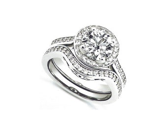 1ct Forever One (GHI) Moissanite Solid 14K White Gold Diamond  Engagement  Ring Set- antique style - ENS2063