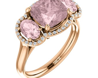 Natural AAA 8mm Antique Cushion Cut Morganite  Solid 14K Rose Gold Diamond Engagement halo  Ring Set  ST82713