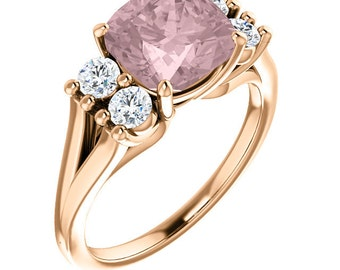 Natural AAA 8mm Antique Cushion Cut Morganite  Solid 14K Rose Gold Diamond Engagement halo  Ring Set  ST82716