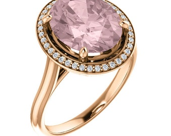 Natural AAA 11x9mm Oval  Morganite  Solid 14K rose  Gold Diamond halo Engagement Ring Set-ST82837