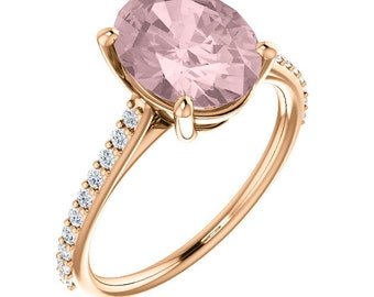 Natural AAA 10x8 mm Oval  Morganite  Solid 14K Rose Gold Diamond  Engagement Ring Set-ST82710