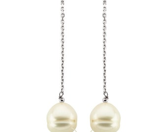 14K  White /Yellow Gold  9-11mm Freshwater Cultured Pearl Dangle Earrings--- ST76874