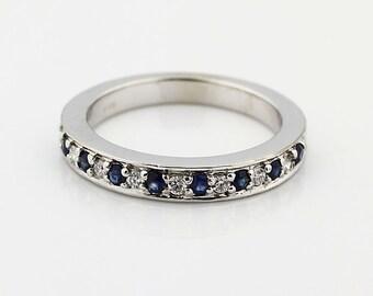 14k White Gold  Natural Diamond & Blue sapphires Anniversary Milgrain Wedding Band Ring