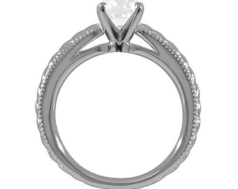 1/2ct GIA Certified Diamond Solitaire  Engagement Ring Raised  Vintage Shank  In 14k White Gold SR277