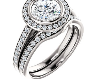 7mm round Forever One (GHI) Moissanite Solid 14K Rose Gold Diamond Engagement Ring and band set - ST233163R