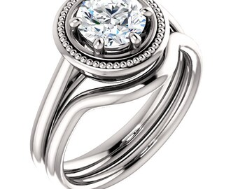 1ct 6.5mm Forever One (GHI) Moissanite Solid 14K White Gold   Engagement  Ring Set  - ST82784*****Specal*****