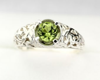 Natural Green Peridot Solid 14K White Gold Ring