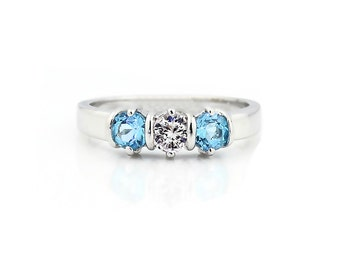 Three stones 4mm White Sapphire & Swiss Blue Topaz Solid  14k white gold Band Ring