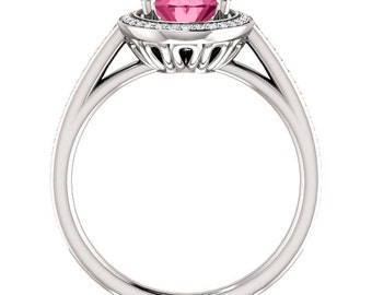 Natural AAA 9x7mm Oval Pink Tourmaline Solid 14K White Gold Diamond halo Engagement Ring Set-ST82790