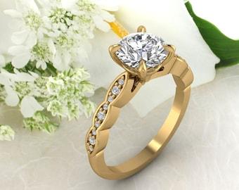 Solid 14K Gold Round Moissanite 1.50 CT (DEF) Engagement Ring ,Diamond Ring ,Moissanite wedding ring  Gift For Her