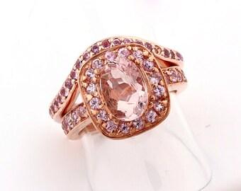 Natural AAA  Morganite Solid 14K Rose Gold pink sapphire engagement Bridal Ring set