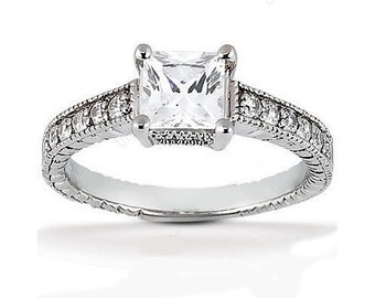 1.25 carat 6mm Princess Cut Forever One (GHI) Moissanite Diamond Vintage Engagement Ring ENR779