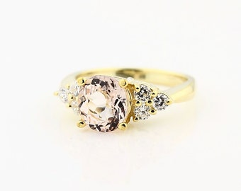 Natural  Morganite  Solid 14K Yellow Gold Diamond engagement Ring-Special