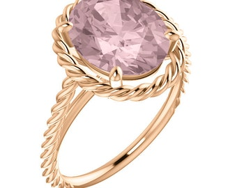 Morganite  Ring 11x9mm Fancy Color AAA,   Rope  Ring  in 14K Rose Gold  engagement  Ring -ST82948