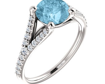 Natural AAA Aquamarine & Diamond Engagement Ring In 4k White gold, 7mm Round gemstone- ST233098